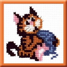 Cat With A Ball - Counted Cross Stitch Kit with Color Symbolic Scheme