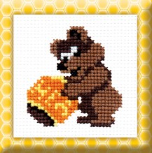 Teddy Bear With Honey - Counted Cross Stitch Kit with Color Symbolic Scheme
