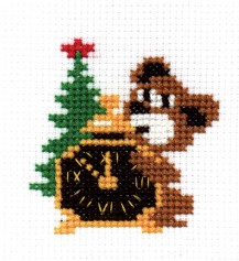 Clock - Counted Cross Stitch Kit with Color Symbolic Scheme
