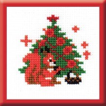 Squirrel At The Tree - Counted Cross Stitch Kit with Color Symbolic Scheme