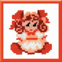 Girl - Counted Cross Stitch Kit with Color Symbolic Scheme
