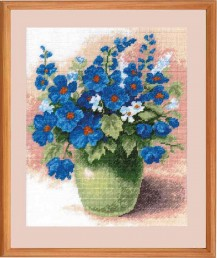 Blue Flowers In A Vase - Counted Cross Stitch Kit with Color Symbolic Scheme