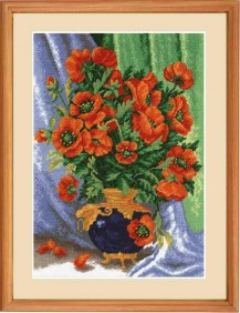 Bouquet Of Poppies - Counted Cross Stitch Kit with Color Symbolic Scheme