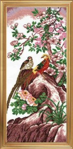 Chinese Birds - Counted Cross Stitch Kit with Color Symbolic Scheme