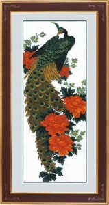 Peacock - Counted Cross Stitch Kit with Color Symbolic Scheme