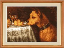 Dog At Supper - Counted Cross Stitch Kit with Color Symbolic Scheme
