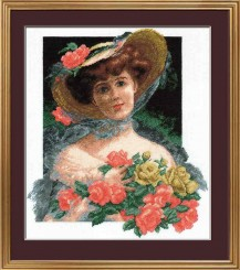 Girl With Roses - Counted Cross Stitch Kit with Color Symbolic Scheme
