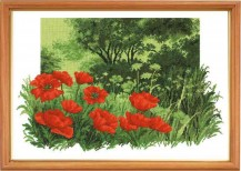 Forest Poppies (landscape) - Counted Cross Stitch Kit with Color Symbolic Scheme