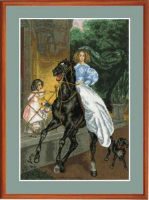 Horsewoman - Counted Cross Stitch Kit with Color Symbolic Scheme
