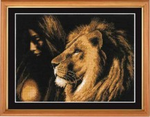 Girl And A Lion - Counted Cross Stitch Kit with Color Symbolic Scheme
