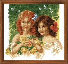 Girls With Roses - Counted Cross Stitch Kit with Color Symbolic Scheme
