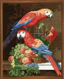Parrots - Counted Cross Stitch Kit with Color Symbolic Scheme