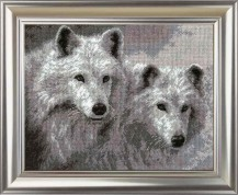 White Wolfs - Counted Cross Stitch Kit with Color Symbolic Scheme