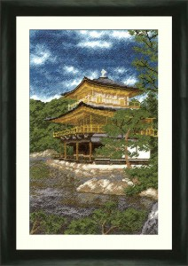 Golden Pavilion In Kyoto - Counted Cross Stitch Kit with Color Symbolic Scheme