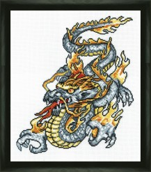 Grey Dragon - Counted Cross Stitch Kit with Color Symbolic Scheme