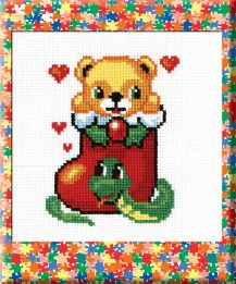 Bear In A Boot - Counted Cross Stitch Kit with Color Symbolic Scheme
