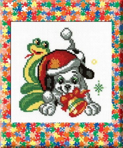 A Dog With A Snake - Counted Cross Stitch Kit with Color Symbolic Scheme