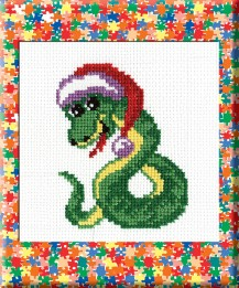 Snake - Counted Cross Stitch Kit with Color Symbolic Scheme