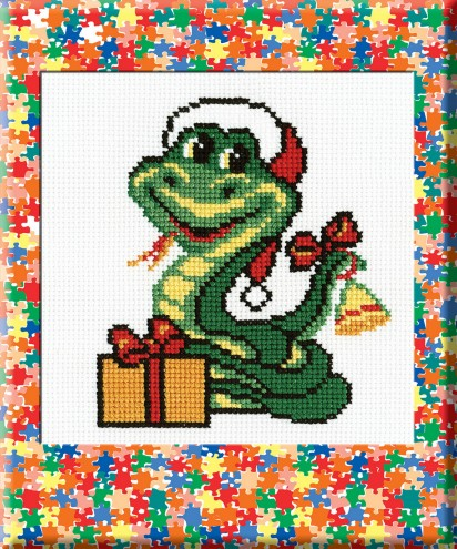 Christmas Snake - Counted Cross Stitch Kit with Color Symbolic Scheme