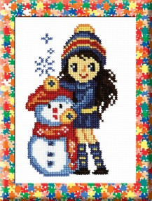 Girl And Snowman - Counted Cross Stitch Kit with Color Symbolic Scheme