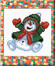 Snowman - Counted Cross Stitch Kit with Color Symbolic Scheme
