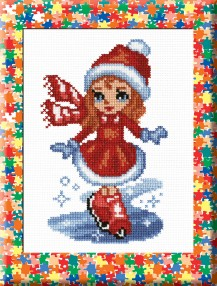 Girl On Skates - Counted Cross Stitch Kit with Color Symbolic Scheme