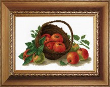Still Life With Apples - Counted Cross Stitch Kit with Color Symbolic Scheme