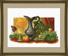 Still Life With Grapes - Counted Cross Stitch Kit with Color Symbolic Scheme
