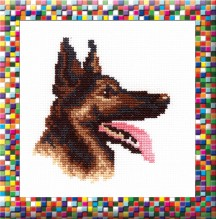 German Sheppard  - Counted Cross Stitch Kit with Color Symbolic Scheme