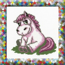 The Pink Pony - Counted Cross Stitch Kit with Color Symbolic Scheme