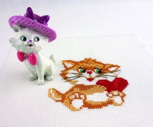 Kitty - Stamped Cross Stitch Kit with Water Soluble Color Scheme