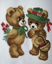 Meeting - Stamped Cross Stitch Kit with Water Soluble Color Scheme