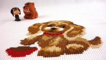 Puppy At Bowl - Stamped Cross Stitch Kit with Water Soluble Color Scheme