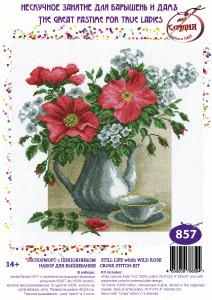 Still Life With Shiva - Stamped Cross Stitch Kit with Water Soluble Color Scheme