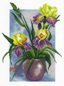 Irises - Stamped Cross Stitch Kit with Water Soluble Color Scheme