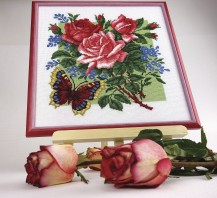 Roses With A Butterfly - Stamped Cross Stitch Kit with Water Soluble Color Scheme