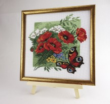 Poppies With Butterfly - Stamped Cross Stitch Kit with Water Soluble Color Scheme