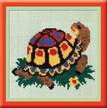 Turtle - Stamped Cross Stitch Kit with Water Soluble Color Scheme