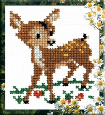 Deer - Stamped Cross Stitch Kit with Water Soluble Color Scheme