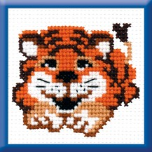 Tiger Cub - Stamped Cross Stitch Kit with Water Soluble Color Scheme